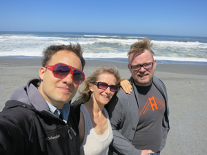 Scott, Sunna and Toggi on the beach north of Eureka, CA